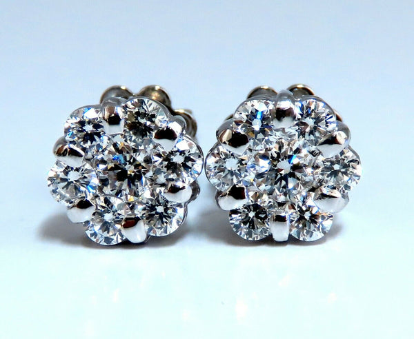 1.10ct Natural Diamonds Cluster Earrings 14kt