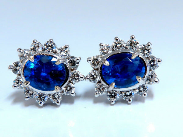 4.19ct Natural Sapphire Diamonds Cluster Earrings 14 Karat gold