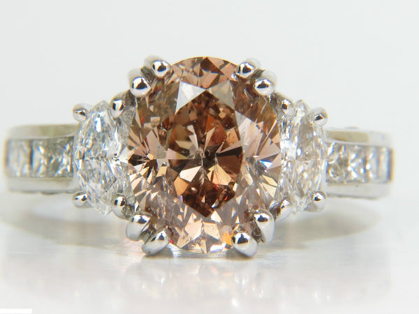 GIA 4.82CT NATURAL FANCY ORANGE BROWN COLOR DIAMOND RING EXCELLENT