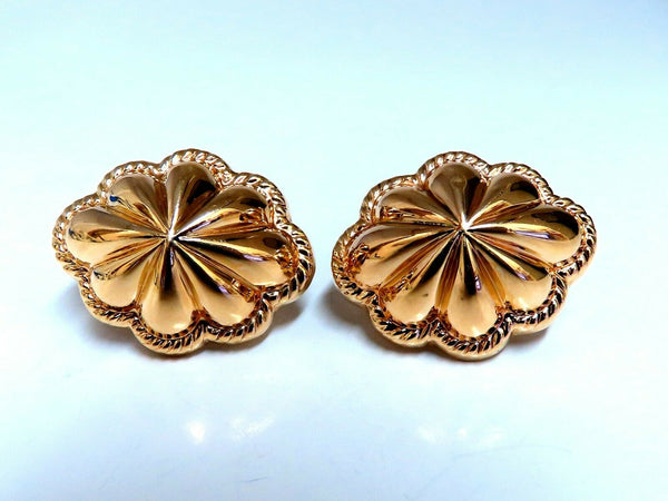 14kt Gold Textured Watermelon Clip Earrings