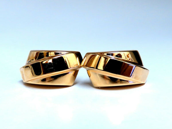 14kt Gold Slant Row Clip Earrings