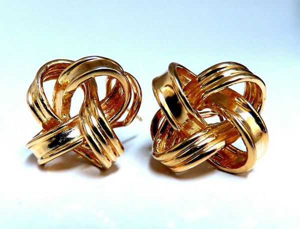 14kt Gold Textured Inverted Knot Clip Earrings