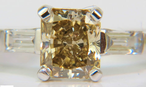 1.28CT FANCY YELLOW ORANGE DIAMOND RING VS PRINCESS & PLATINUM