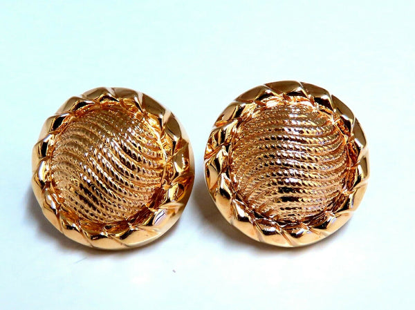 14kt Gold Textured Button Domed Clip Earrings