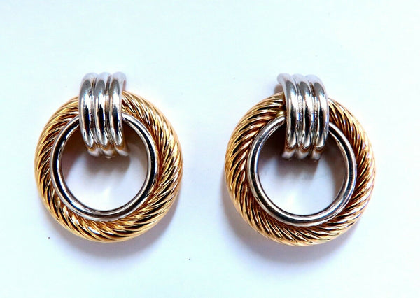 14kt Gold Textured Rope Twist Knocker Circle Earrings