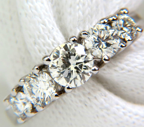 1.20CT DIAMONDS BAND 5 STONE RING 14KT H/VS