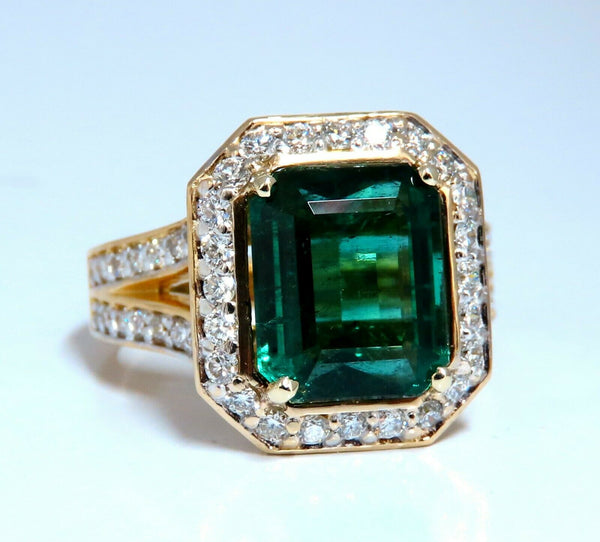 GIA Certified 5.12ct Natural Green Emerald Diamonds Ring 14kt. F1