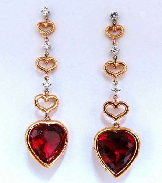 GIA Certified Natural Red Heart Tourmaline Diamonds Dangle Earrings