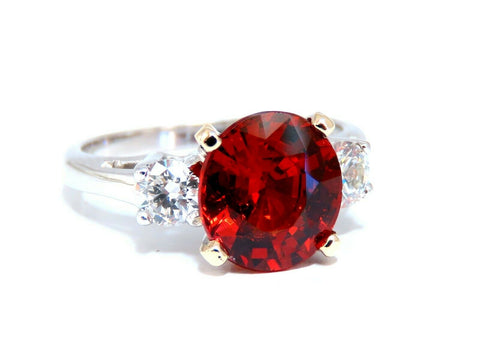 GIA Certified 3.60CT Natural Spessartite Garnet Ring Red Orange Prime