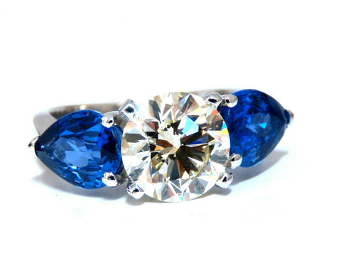 GIA Certified 2.33ct Natural Round Cut Diamond Ring Sapphire Pears O-P/Vs1