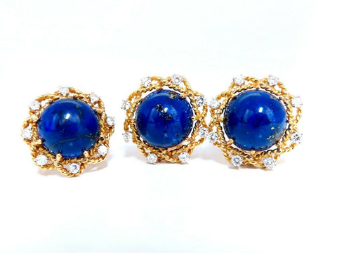 GIA Certified Natural Lapis Diamond Clip Earrings & Ring 18kt