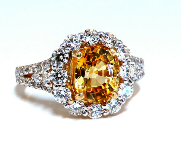 GIA Certified 2.59Ct Natural Yellow Natural Sapphire Diamonds Ring 14kt