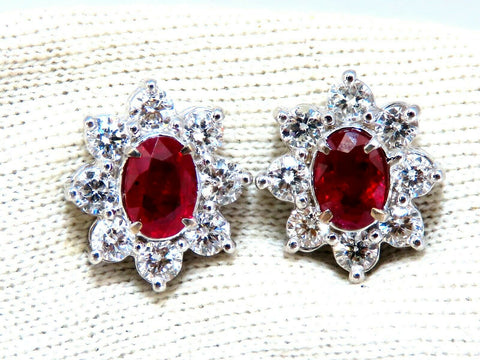 GIA Certified 3.77ct Natural Heat Ruby Diamond Cluster Earrings 14kt Unheated
