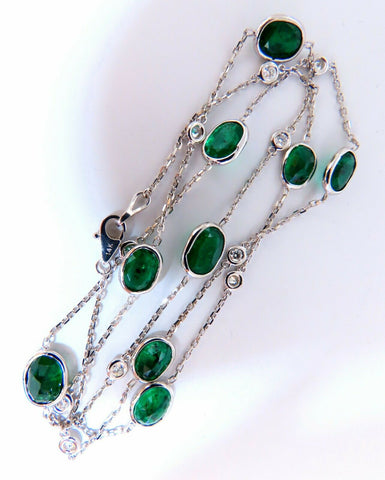 11.73ct. Natural Emeralds Diamonds Yard Necklace 14kt