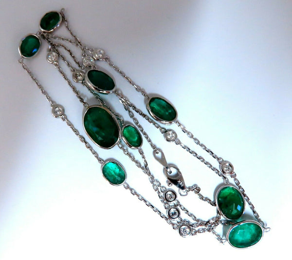 12.88ct. Natural Emeralds Diamonds Yard Necklace 14kt