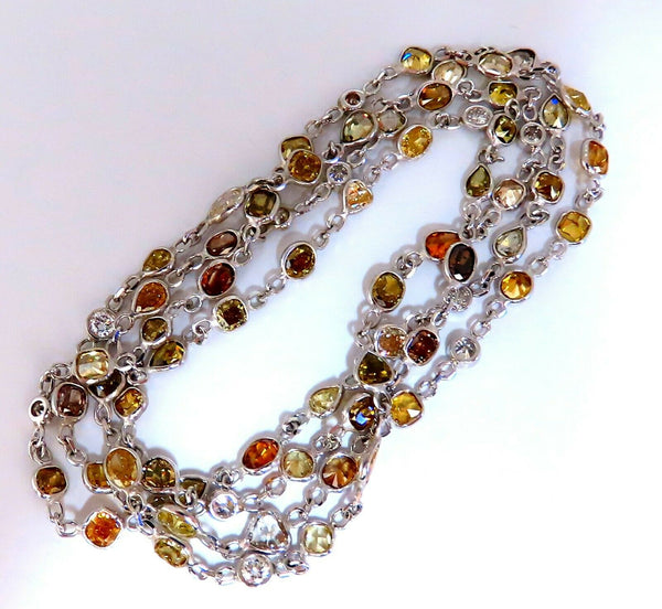 11.16ct Natural Multicolored Fancy Colored Diamonds Yard Necklace 14kt