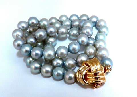 7.3mm Freshwater Gray Pearls Necklace 14 karat