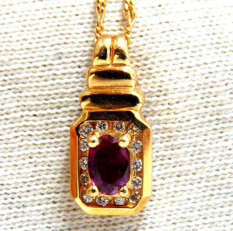 .80ct Natural Ruby Diamonds Pendant Necklace 14kt