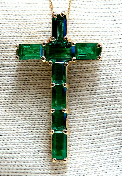 1.56ct natural vivid green emerald cross necklace 14kt pendant