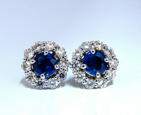 3.37ct Natural Sapphire Diamonds Cluster Earrings 14 Karat gold