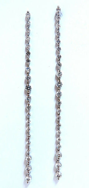 4.02ct Natural Round Diamonds Dangle Earrings 14kt EXtra Long 4 Inch