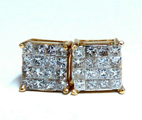 1.06ct Natural Diamonds Cluster Channel Princess Clip Earrings 14 Karat