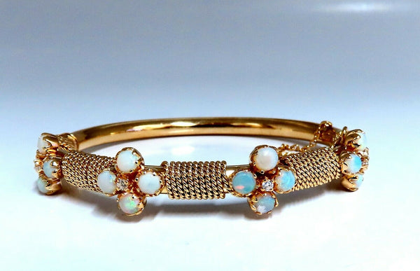5.12ct Natural Australian Opal Diamonds Bangle Bracelet 14kt Rope Twist