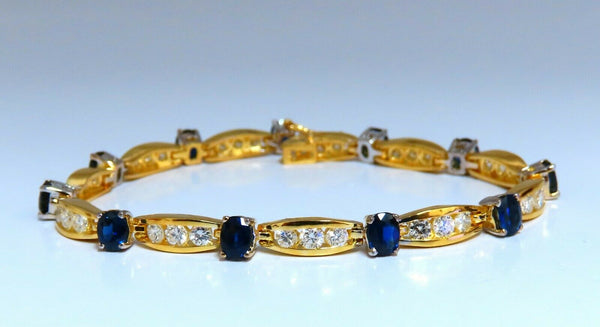 8.50ct natural Vivid royal blue sapphires diamond bracelet 14 Karat