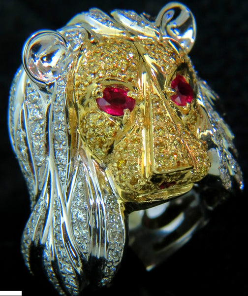 18KT ITALY UNISEX HUGE 3.40CT DIAMONDS RUBY LIONESS RING 18KT