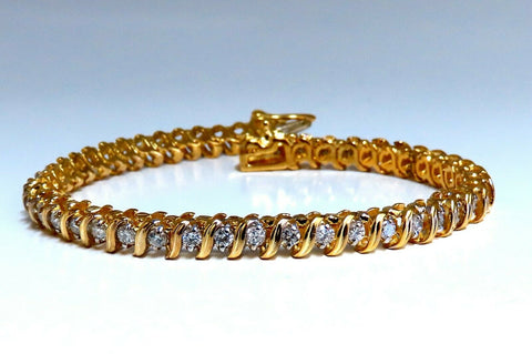 1.54ct Natural Diamonds S Link Tennis Bracelet 14kt Gold