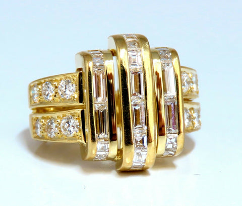 2.18ct Natural Diamonds Baguette Cluster Ring 18kt Art Deco Revisit