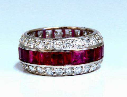 9.20ct Natural Ruby Diamonds eternity Ring 14kt Natural Vivid Reds Revolver
