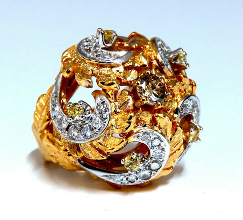 Natural Fancy Color Diamonds Raised Dome Florentine Ring 14kt