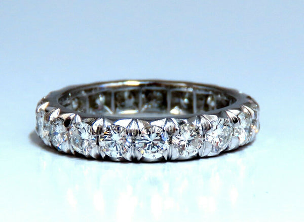 2.10ct Natural Round Diamonds Eternity Ring Graver Raised Bead Deco
