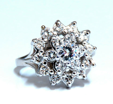 1.12ct natural diamonds raised cluster ring 14kt