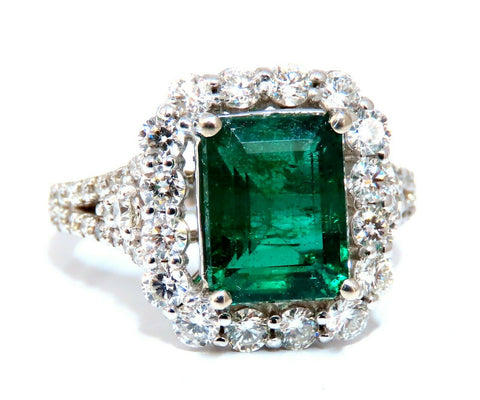 GIA Certified: 3.31ct Natural Emerald Diamonds Ring 14kt (F1)