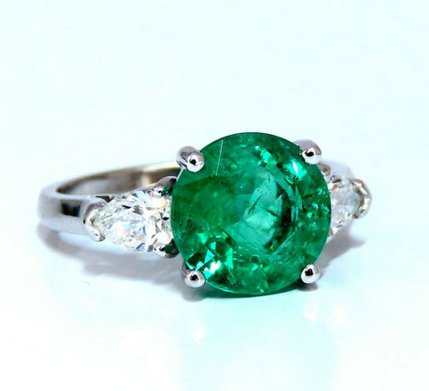 3.53ct Natural Round Emerald Diamonds Three Stone Ring 14kt