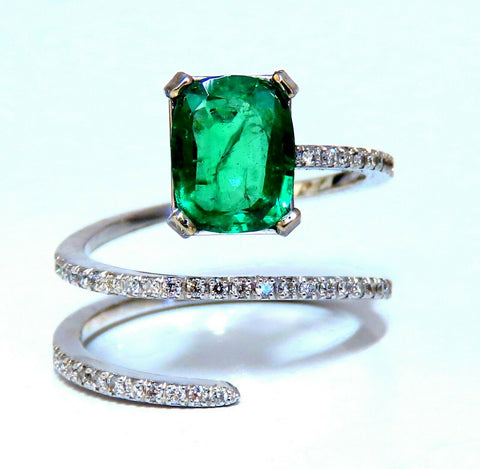 2.20ct Natural Emerald Ring Swirl Snake Mod Deco 14kt