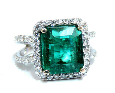6.70ct Natural Vivid Green Emerald Diamonds Ring 14kt Split Shank Dub Shoulder