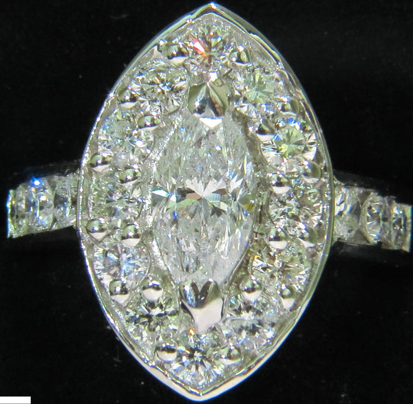 2.62 DIAMONDS CLUSTER RING MARQUISE & ROUNDS 14KT HALO DECO