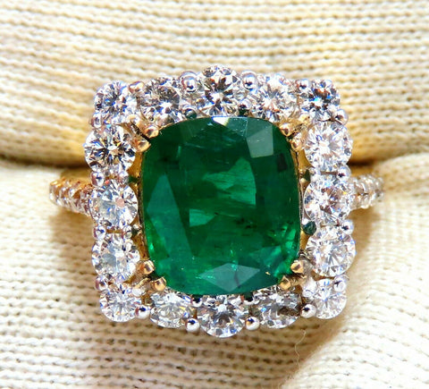 5.80ct Natural Emerald Diamonds Squared Halo Cluster Ring 14kt