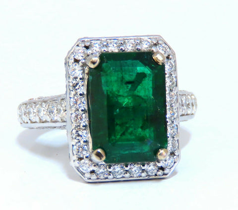 5.52ct Natural Vivid Green Emerald Diamonds Ring 14kt Mod Halo Bead Set Deco