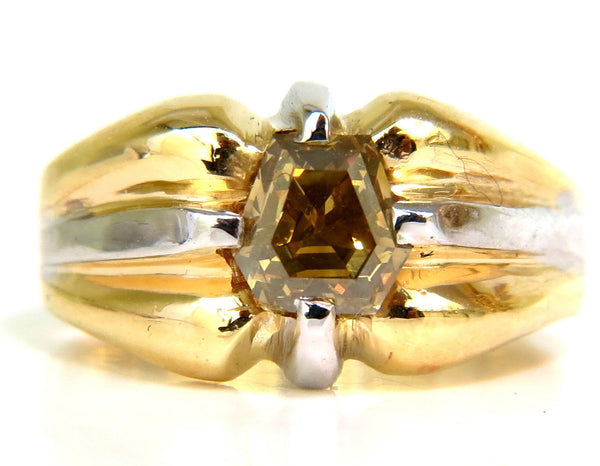 GIA NATURAL FANCY GREEN YELLOW BROWN 1.00CT DIAMOND RING 18KT