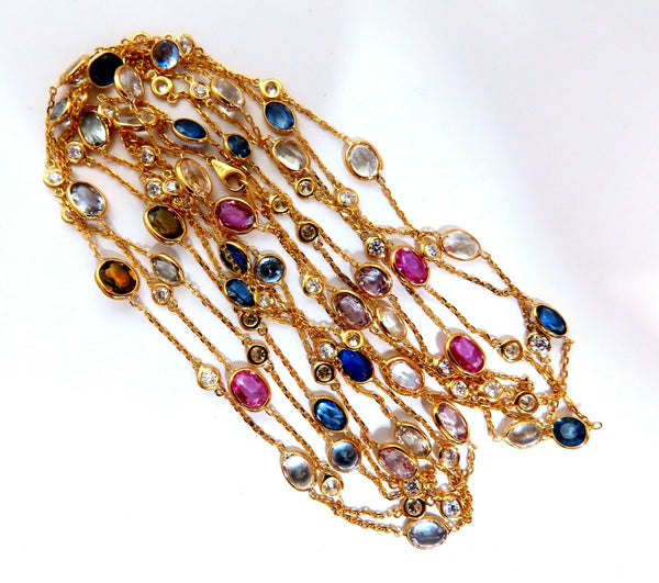 43.05ct. Natural Vivid Sapphires Diamonds Yard Necklace 14kt 4 Tier Wrap 76 inch