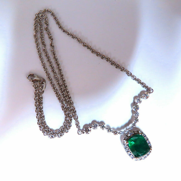 4.04ct Natural Emerald Diamonds Necklace 14kt Dangle