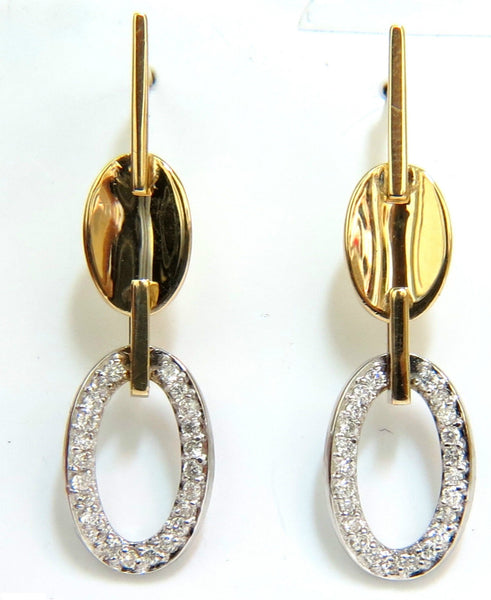 .40CT DIAMONDS DANGLE EARRINGS 14KT TWO TONED F/VS MIRROR FINISH
