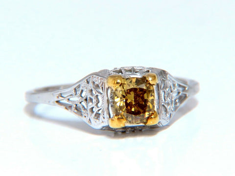 .60ct Natural Yellow Green Brown Diamond Vintage Gilt Ring Platinum