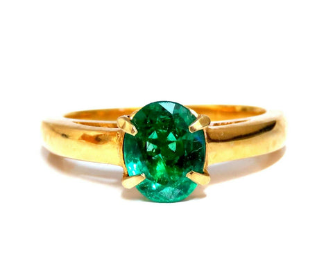 1.56ct Natural Oval Bright Green Emerald Solitaire Ring 14kt