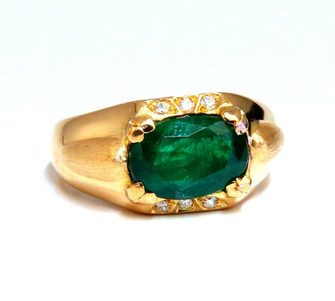 2.80ct Natural Emerald Diamonds Mens Ring 16kt