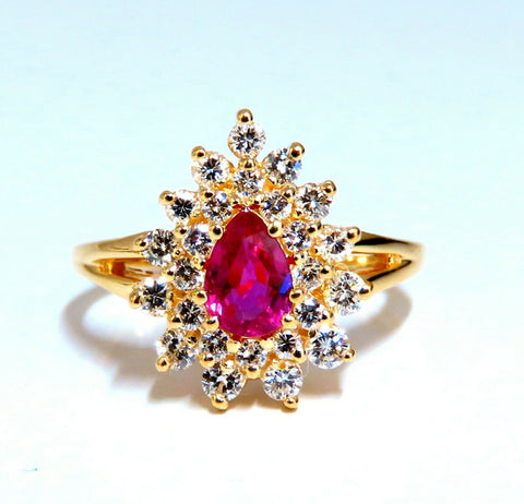 1.02ct Natural Ruby Diamonds Ring Pear Cluster 14kt